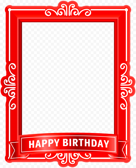 HD Red Happy Birthday Poster Frame PNG