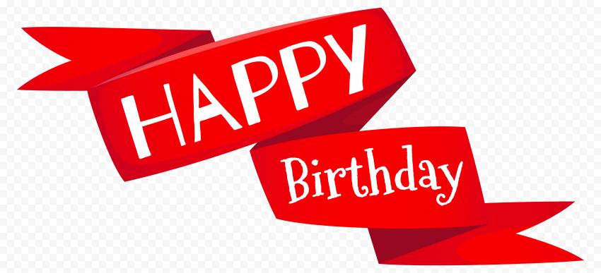HD Red Happy Birthday Ribbon Transparent Background