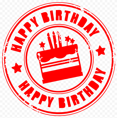HD Red Happy Birthday Round Stamp PNG