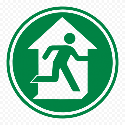 HD Round Emergency Exit Escape Sign Icon Symbol PNG