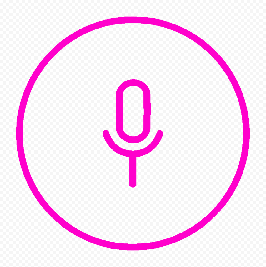 HD Round Voice Recorder Mic Line Pink Icon PNG