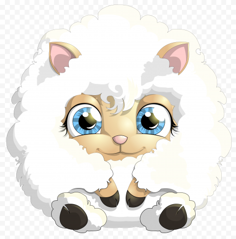 HD Sitting Cute Cartoon White Sheep PNG