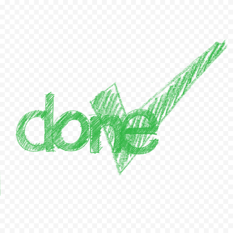 HD Sketch Green Done Word With Yes Mark PNG