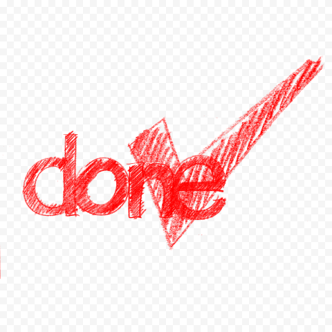 HD Sketch Red Done Word With Yes Mark PNG