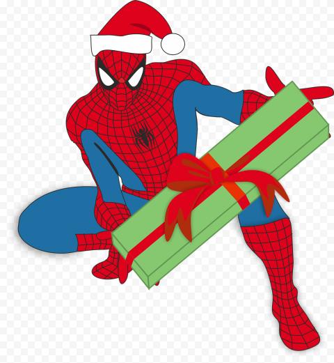 HD Spider Man Character With Santa Hat Christmas PNG