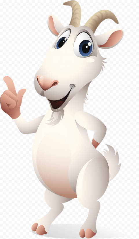 HD Standing Up Cartoon Goat Character PNG