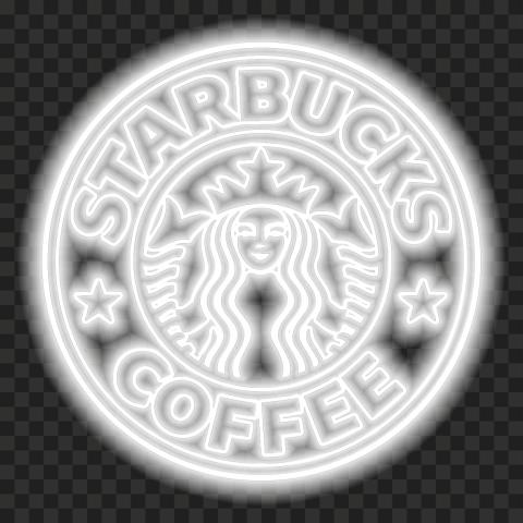 HD Starbucks White Neon Circle Woman Logo PNG