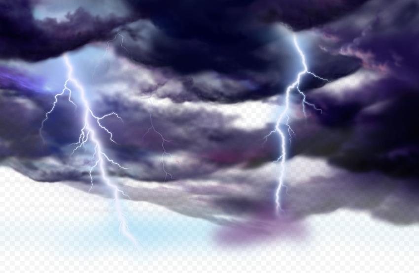 HD Storm Black Clouds Lightning Thunder PNG