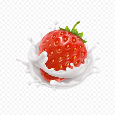 HD Strawberry Fruit With Milk Splash Drops PNG