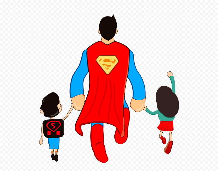 HD Superman Super Dad Clipart Cartoon With Kids PNG