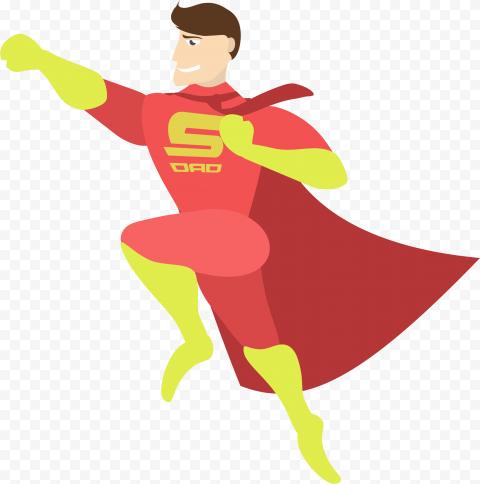 HD Vector Cartoon Super Dad Hero PNG