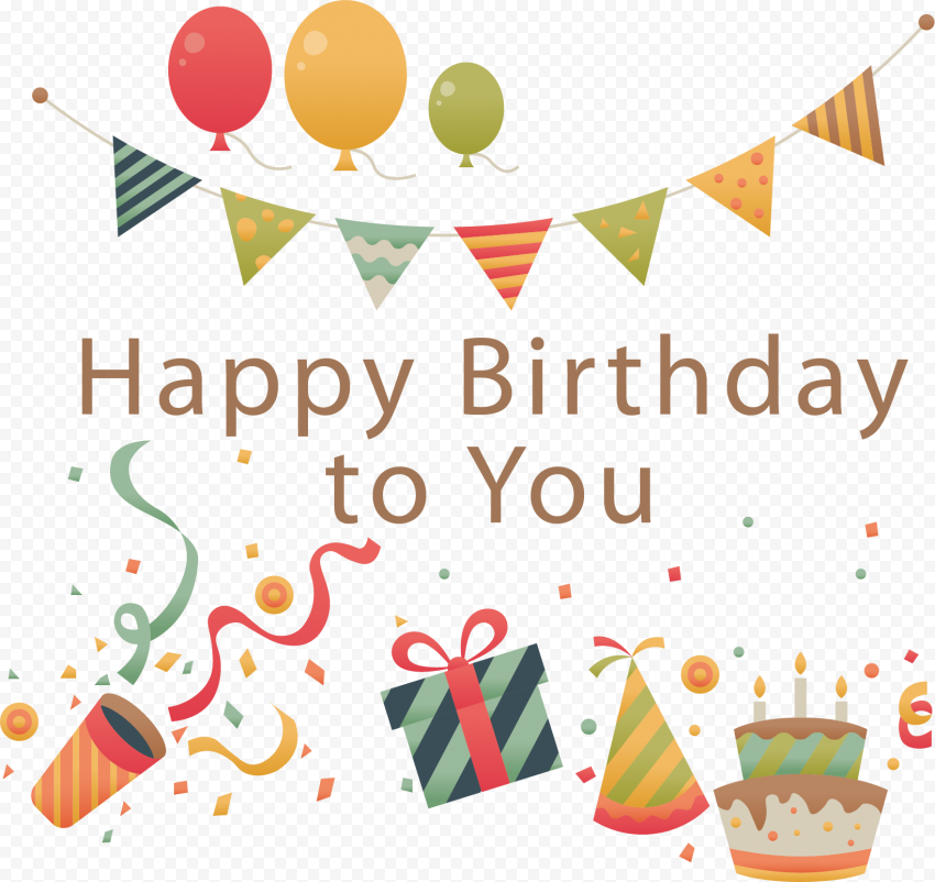 HD Vector Happy Birthday To You Balloons Streamers Decoration PNG