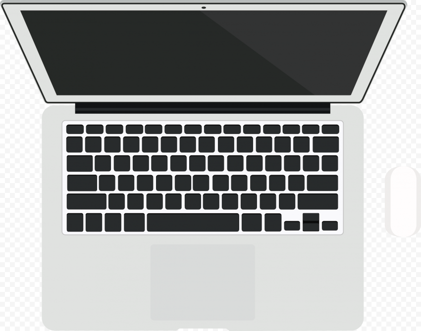 HD Vector Macbook Air Top View With Magic Mouse PNG