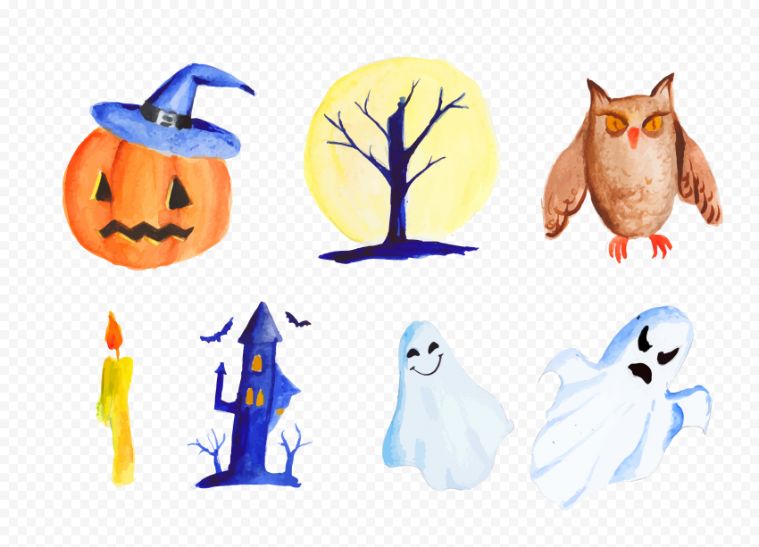 HD Watercolor Halloween Decorative Elements Icons PNG