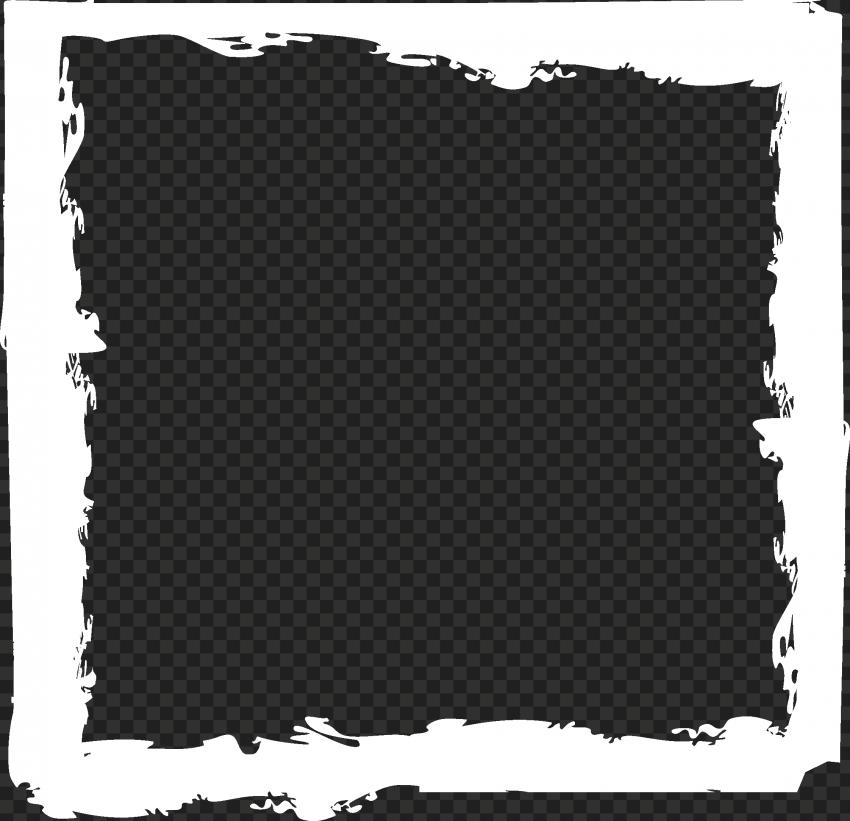 HD White Brush Stroke Grunge Square Frame PNG