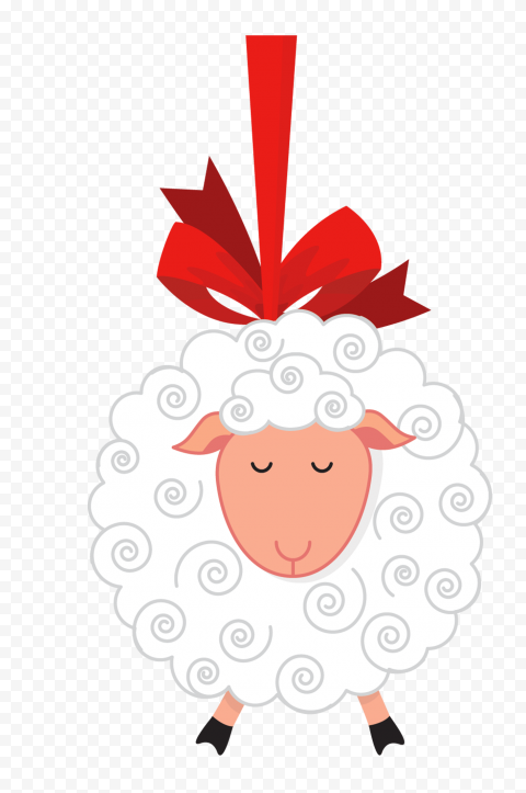 HD White Cartoon Hanging Sheep With Red Ribbon PNG