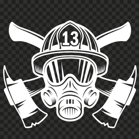 HD White Fireman Firefighter Mask With Axe Logo PNG