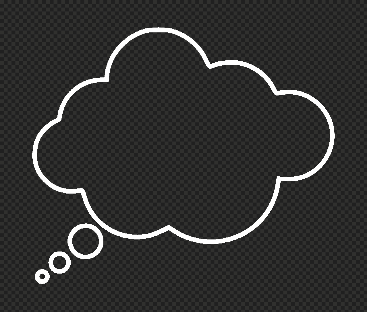 HD White Outline Thinking Speech Cloud PNG