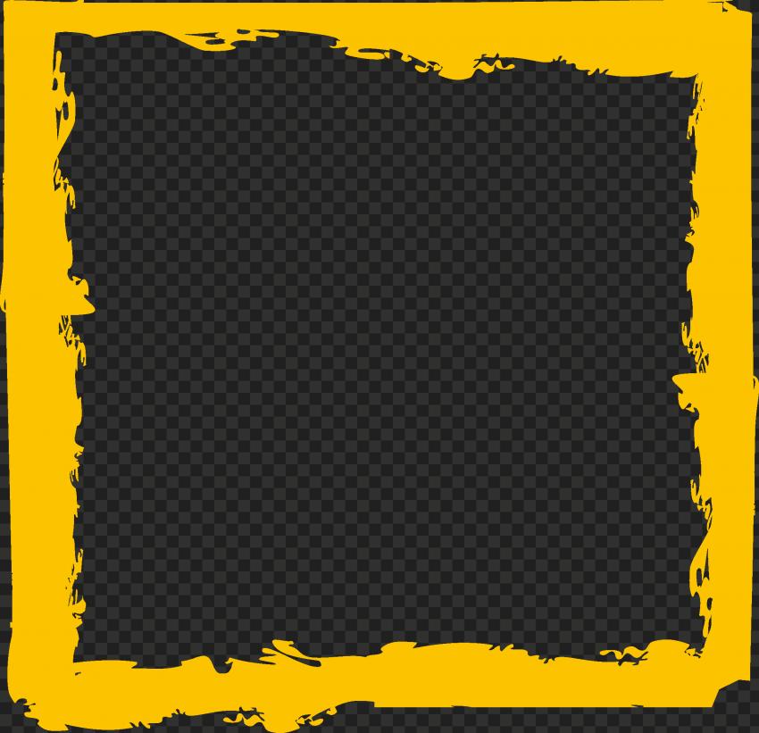 HD Yellow Brush Stroke Grunge Square Frame PNG