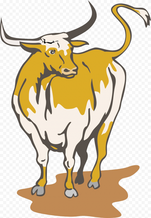 HD Yellow Bull Cow Cattle Cartoon PNG