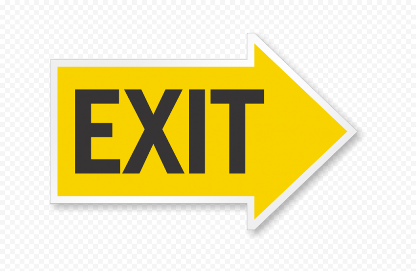 HD Yellow Exit Emergency Sign Transparent Background