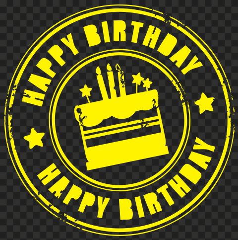 HD Yellow Happy Birthday Round Stamp Transparent PNG