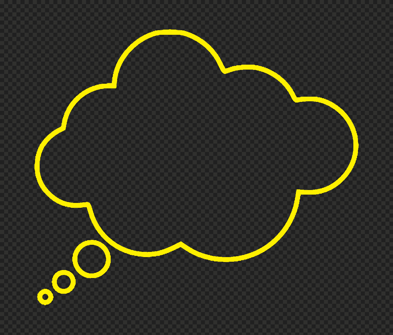 HD Yellow Outline Thinking Speech Cloud PNG