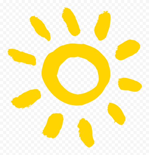 HD Yellow Paint Brush Stroke Sun Icon PNG