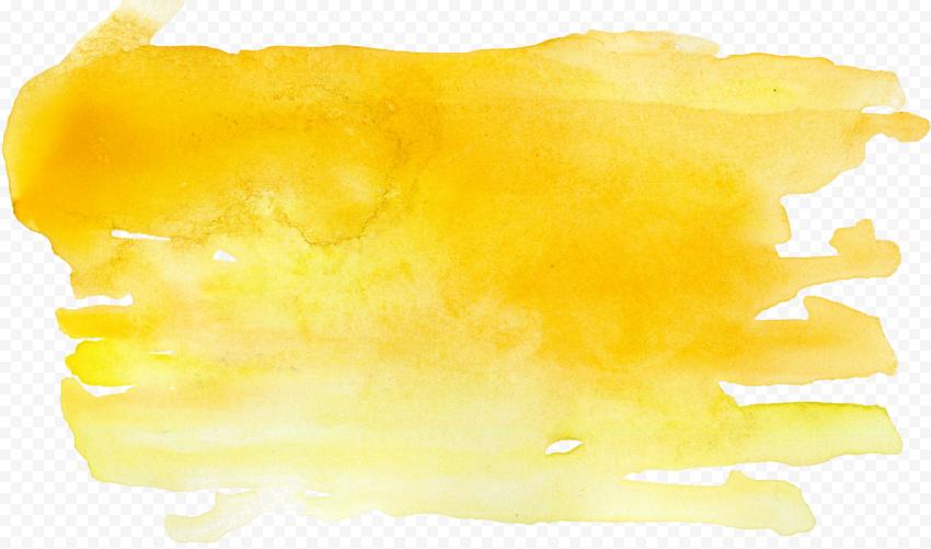 HD Yellow Watercolor Brush Effect PNG