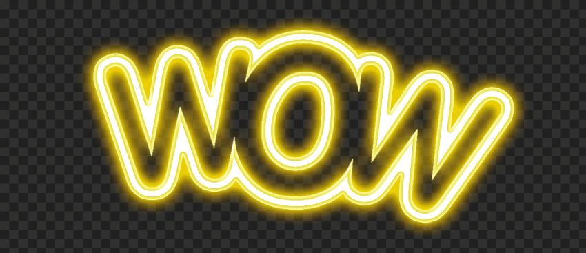 HD Yellow Wow Neon Expression Word Transparent PNG