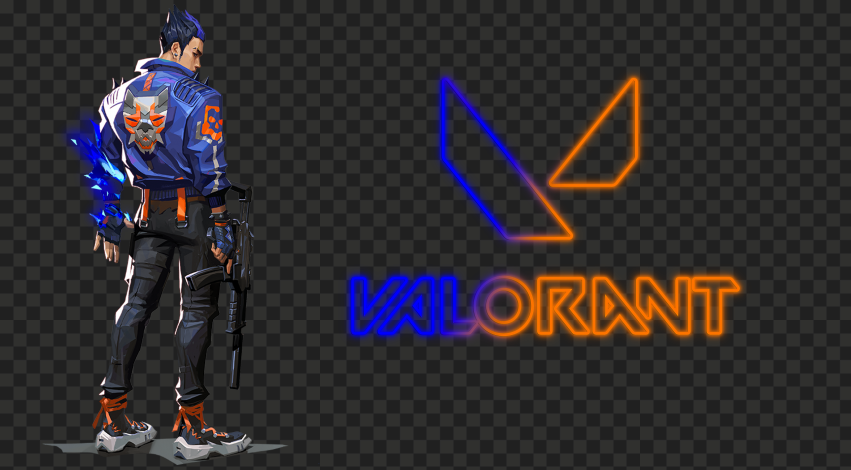 HD Yoru Valorant Agent With Neon Logo PNG