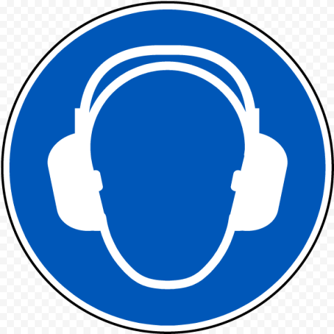 Hearing Protection Safety PPE Blue Icon Round