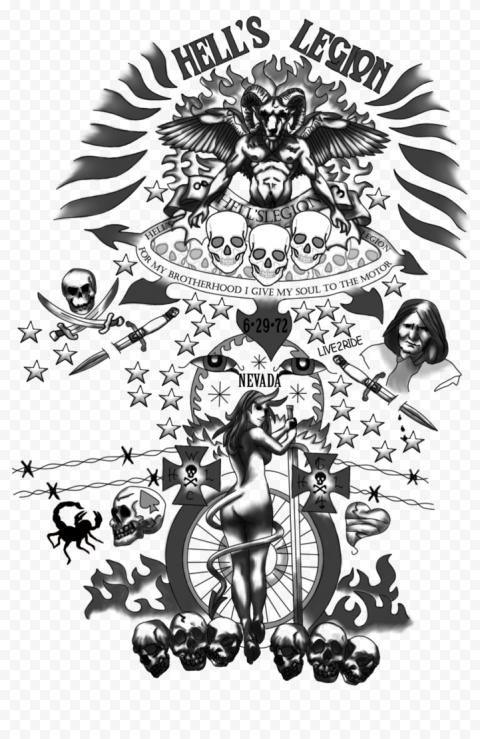 Hell's Legion Skulls Nevada Black Tattoo