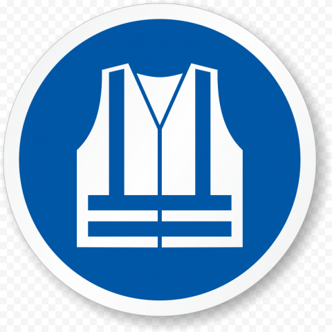 High Visibility Vest Sign Icon Blue Round