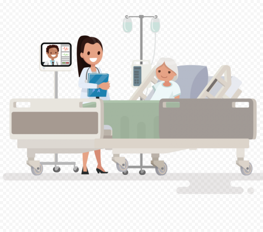 Hospital Clinic Patient Lying Bed Cartoon