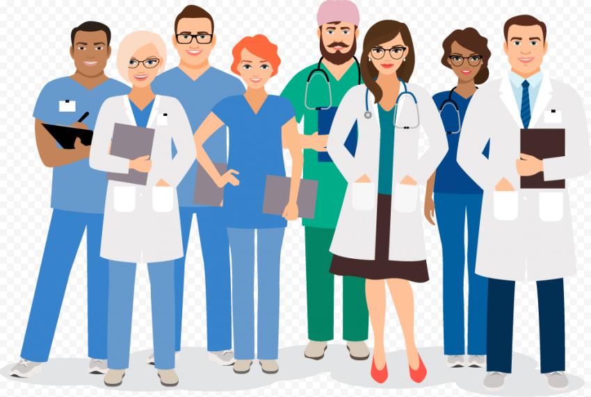 Illustration Cartoon Hospital Staff Doctors