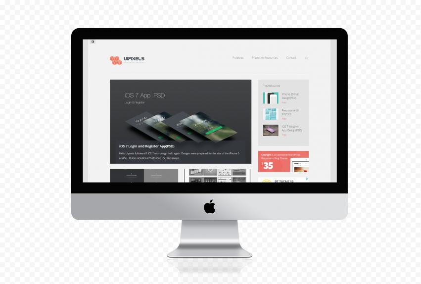 iMac Website Mockup Front View