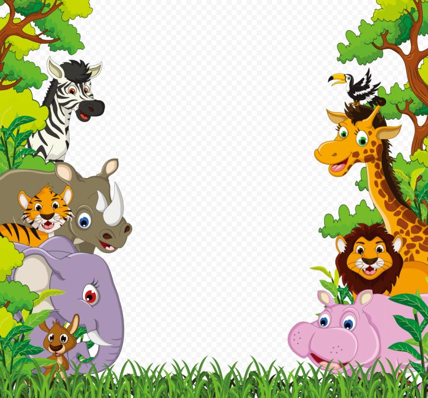 Jungle Animals Wild Border Cartoon Illustration