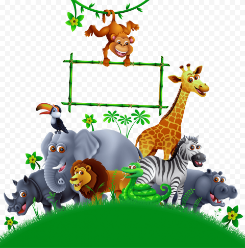 Jungle Wild Animals Cartoon Illustration