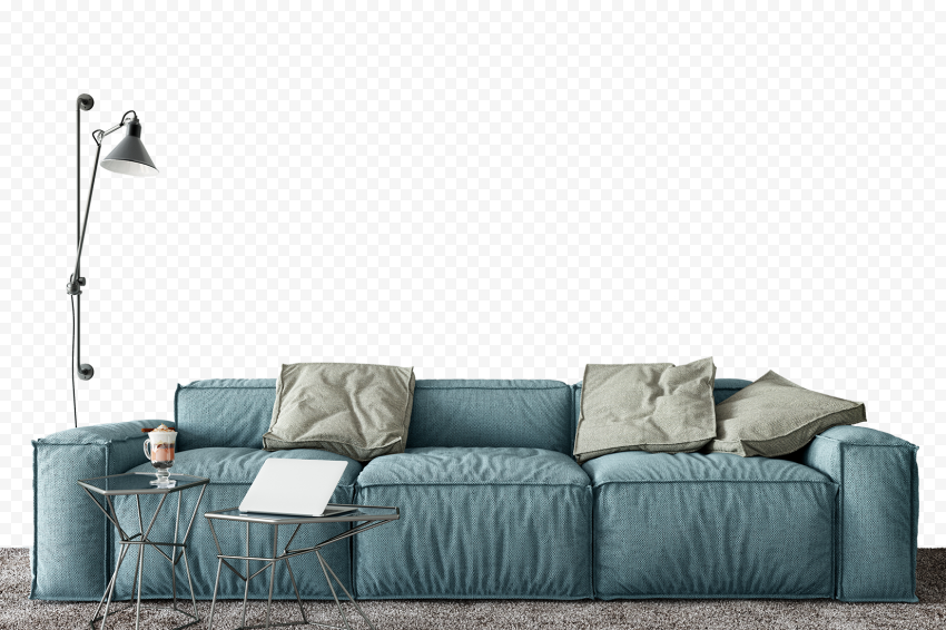 Living Room Blue Sofa Beige Cushions