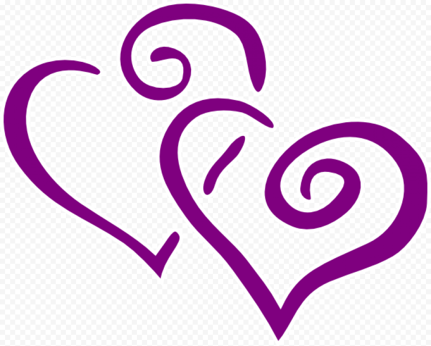 Love Hearts Purple Outline