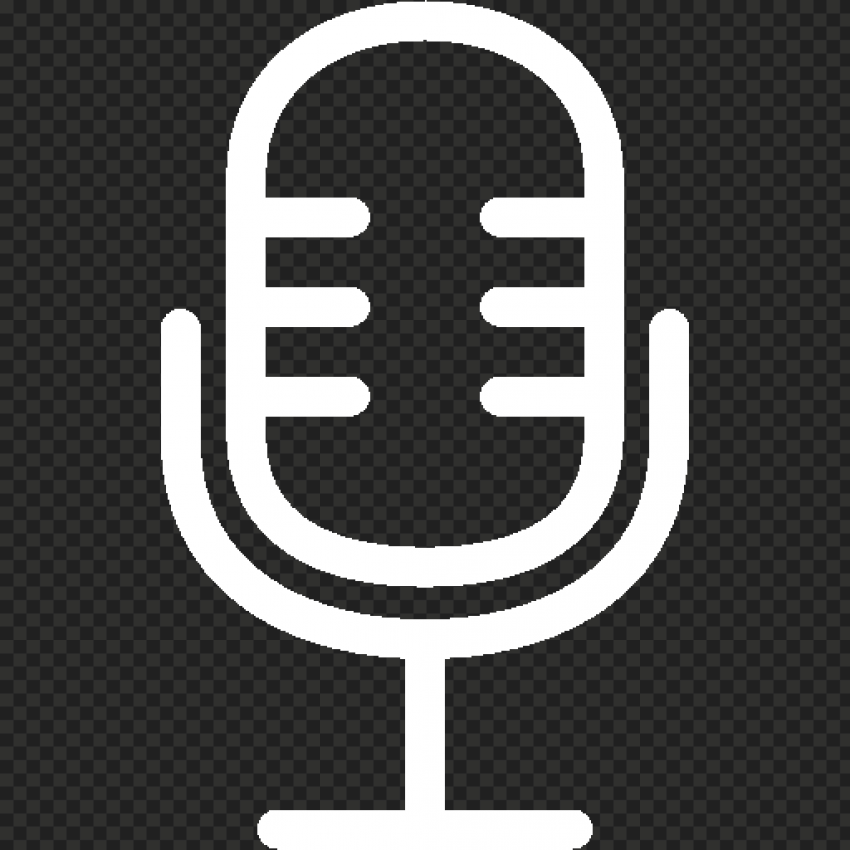 Microphone Studio Voice Mic White Icon FREE PNG