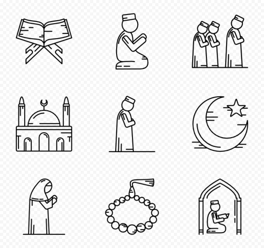 Muslim Praying Pray Ramadan Islamic Icons