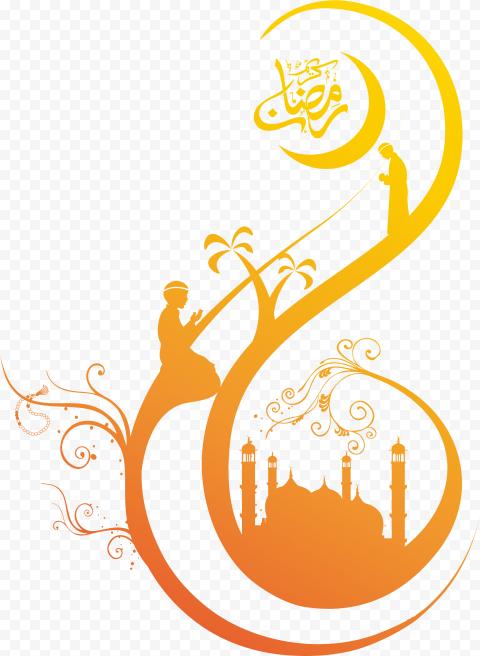 Orange Ramadan Kareem Illustration Mosque Moon
