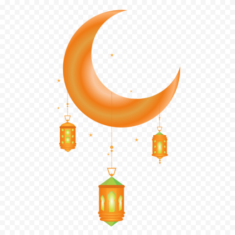 Orange Ramadan Lanterns Lamps Lights Moon