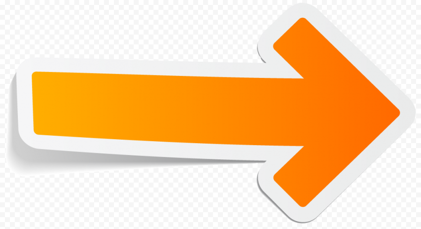 Orange Right Direction Arrow Stickers Effect