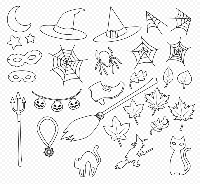 Outline Line Art Black Halloween Elements Icons