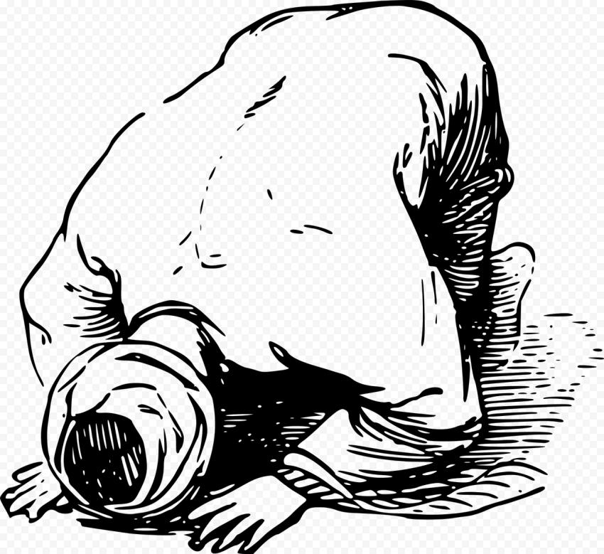 Outline Man Praying Drawing Ramadan Clipart