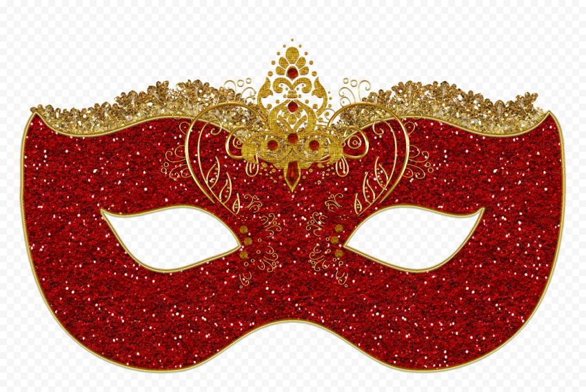 Party Red And Gold Eyes Mask Glitter