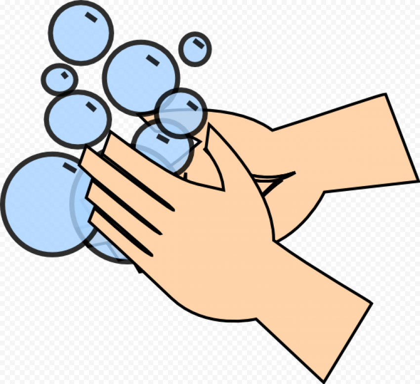 Person Wash Hand Hygiene Soap Bubbles Cartoon